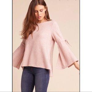 JACK by BB Dakota Slit Bell Sleeve Sweater Pink S